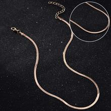 Chic Flat Snake Bone Herringbone Elegant Chain Necklace Choker Gold Silver Color For Women Party Wear Jewelry(China)