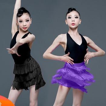 2020 New Girls Summer Latin Dance Clothes Tassel Skirt Split Suit Children Performing Practice Clothes Latin Dance Skirts SL2765