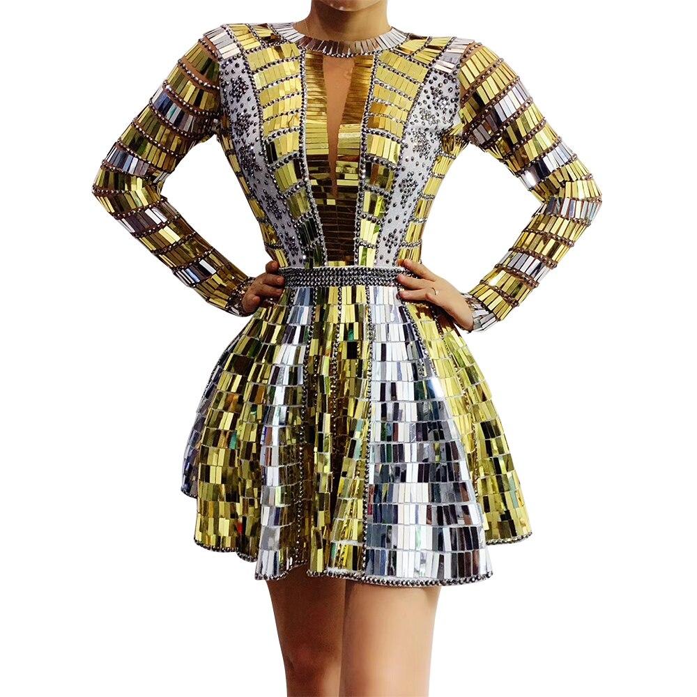 Shining Gold Silver Sequins Rhinestones Dresses for Women Birthday Celebrate Backless Mirror Short Dress Singer Dancer Costumes