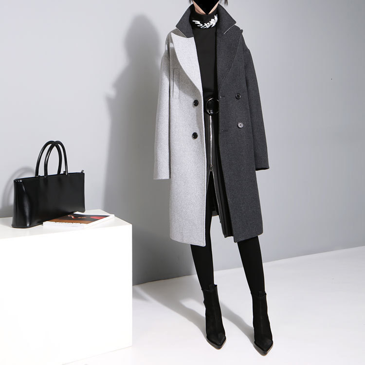 [EAM] 2020 New Spring Lapel Long Sleeve Solid Color Black Gray Split Joint Loose Big Size Jacket Women Fashion JC969 5