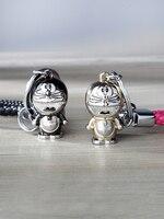 Key chain cute cartoon doraemon cat key chain couples instagram custom lettering key chain