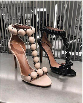 Rihanna Party Shoes Summer Black Patent T-bar High Heels Women's Sandals Open Toe Pom Pom Shoes Buttons Strap Studded Sandals