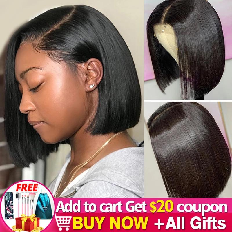 13x4 4x4 bob perucas dianteiras do laço peruano peruca reta pré arrancado cabelo humano 8 10 12 14 polegadas curto bob perucas de cabelo humano jarin