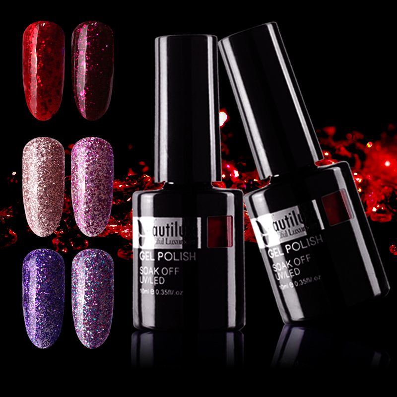 Beautilux 1pc Shimmer Glitter Sparkling Winter Collection Color Gel Nail Polish Soak Off UV LED Nail Lacquer Varnish 10ml