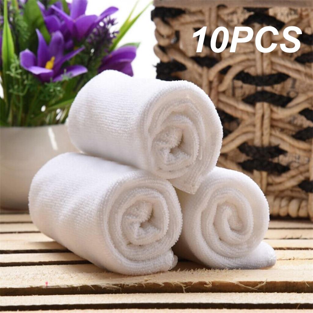 10 шт. белая мягкая ткань из микрофибры, полотенце для лица отель банное полотенце кухонное полотенце для рук салфетка портативный махровые ...