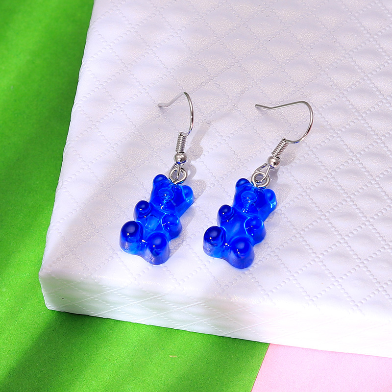 H09bef95ab9ab422292ecfa8ae0a98faaU - 1 Pair Creative Cute Mini Gummy Bear Earrings Minimalism Cartoon Design Female Ear Hooks Danglers Jewelry Gift