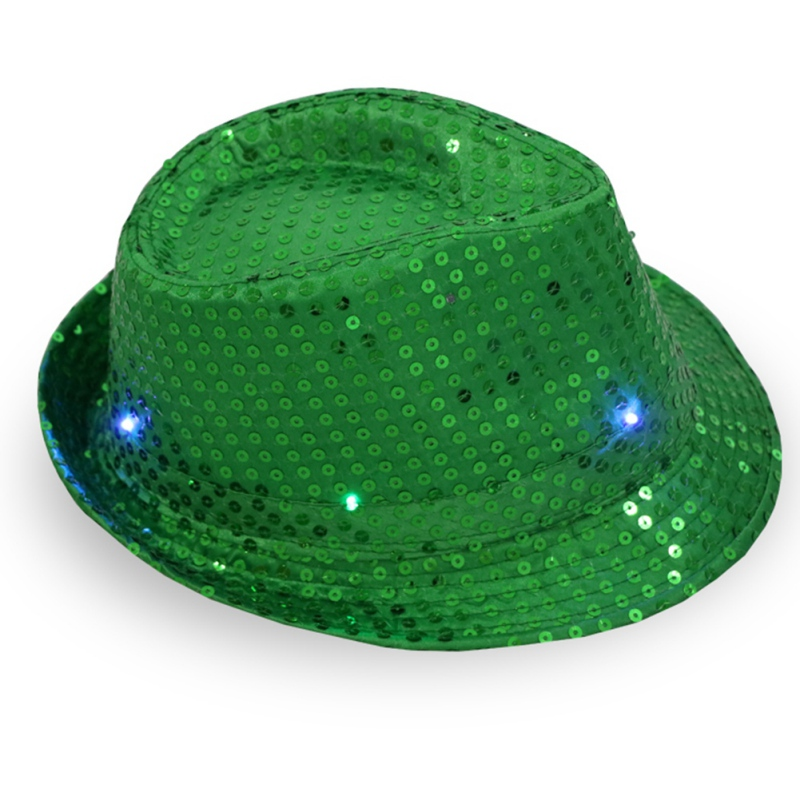 Hat Cowboy-Hat Fedoras Sequins Shiny Jazz-Hat Fashion Adult with Led Stage-Props Flash title=
