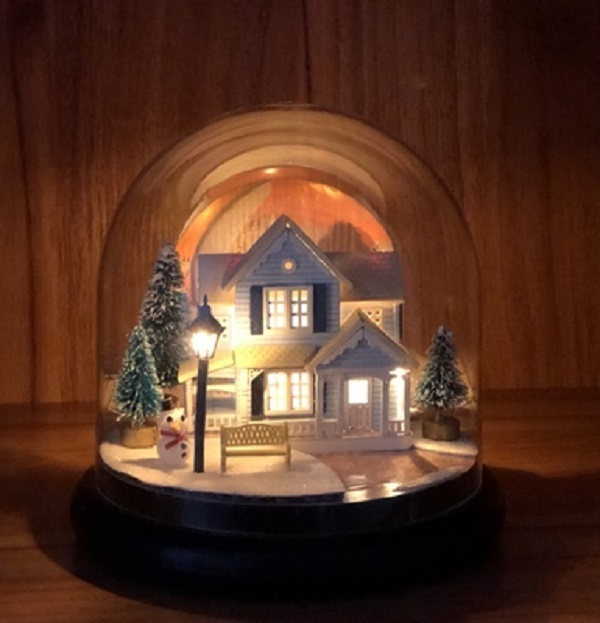 Nordic Fairy Tale DIY Glass Ball Kits Doll House Winter House Snow Wooden Handmade Kids Craft Miniature Home Assemble Toys Gift image