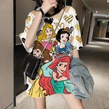 Meerjungfrau Prinzessin Disney T Hemd Frauen 3D gedruckt T-shirt Tops Schnee Weiß Prinzessin Harajuku Drucken Oversize Casual Kurzarm