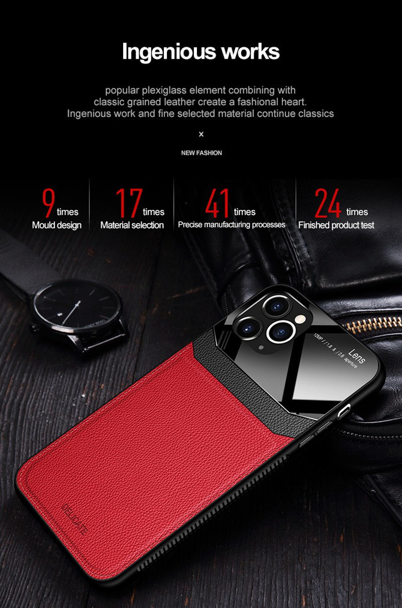 PU Leather Mirror Tempered Glass Lens Protection Waterproof Case for iPhone 12