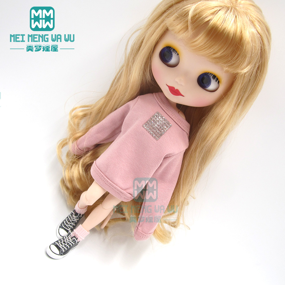 Clothes For Doll Fit 1/6 28-30cm Blyth Azone OB23 OB24 Fashion Sweatshirt Pink, Black, White, Brown