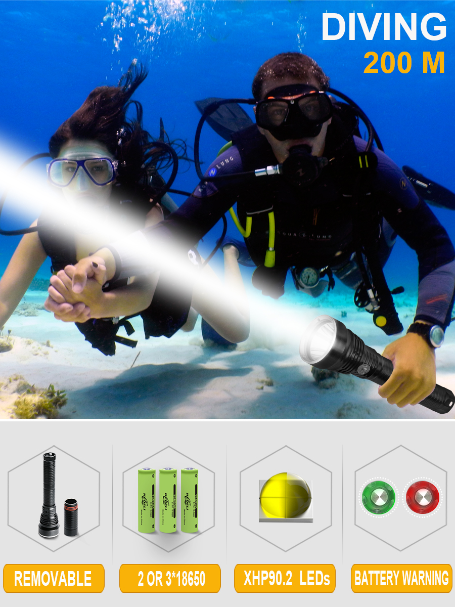 200m profession xhp90.2 led diving flashlight XHP70 led dive torch IXP8 flashlights for dive 26650 18650 deep sea lantern torch