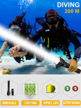 200m profession xhp90.2 led diving flashlight XHP70 led dive torch IXP8 flashlights for dive 26650 18650 deep sea lantern torch