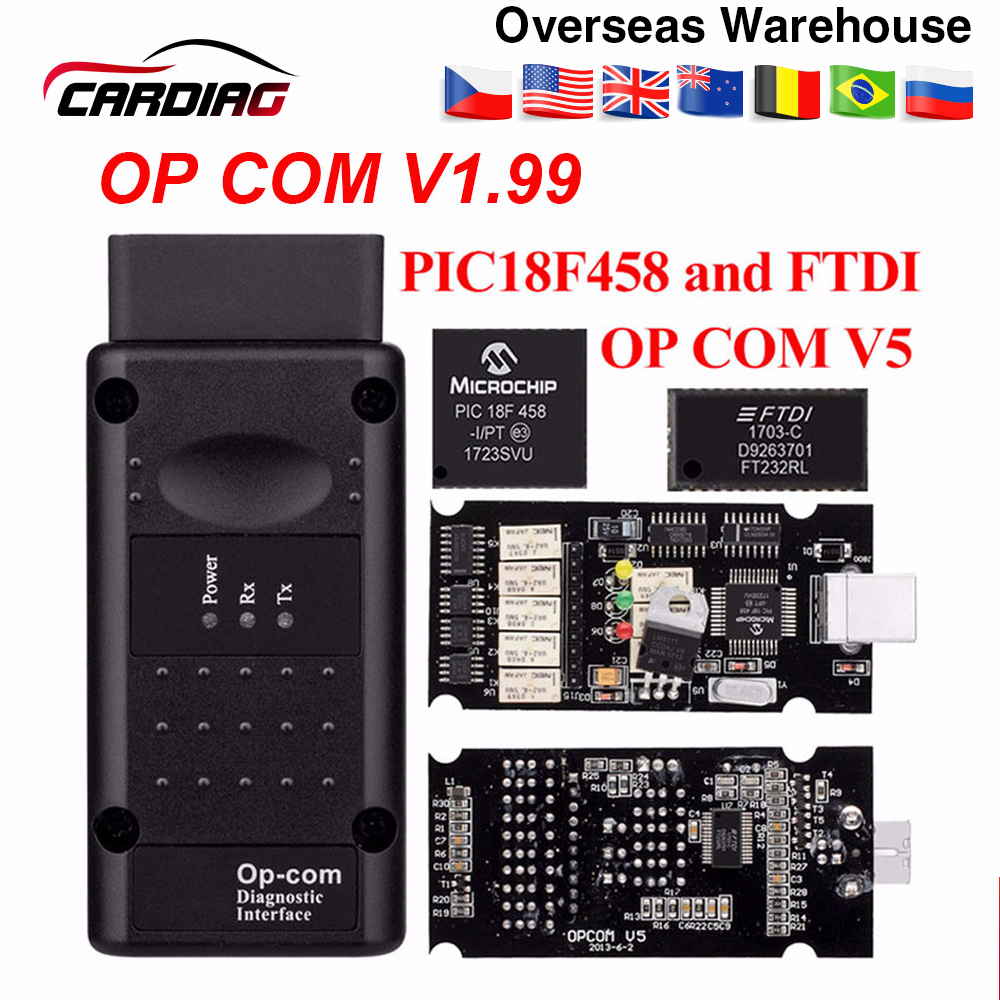 Opcom V1.65 V1.78 V1.99 with PIC18F458 FTDI op-com OBD2 Auto Diagnostic tool CAN BUS V1.7 can be flash update/V1.99