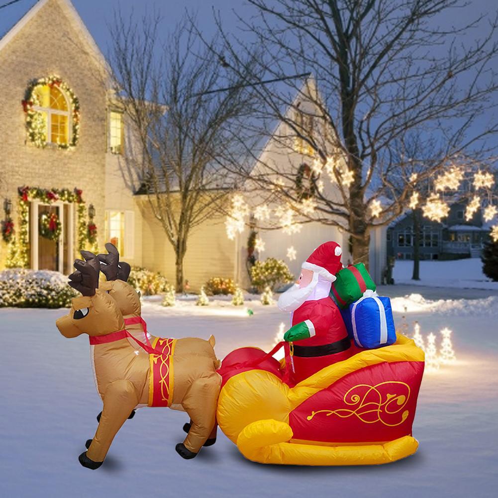 220cm gigante inflável papai noel duplo veado trenó explodir brinquedos divertidos para a criança presentes de natal festa de halloween prop led iluminado - 5