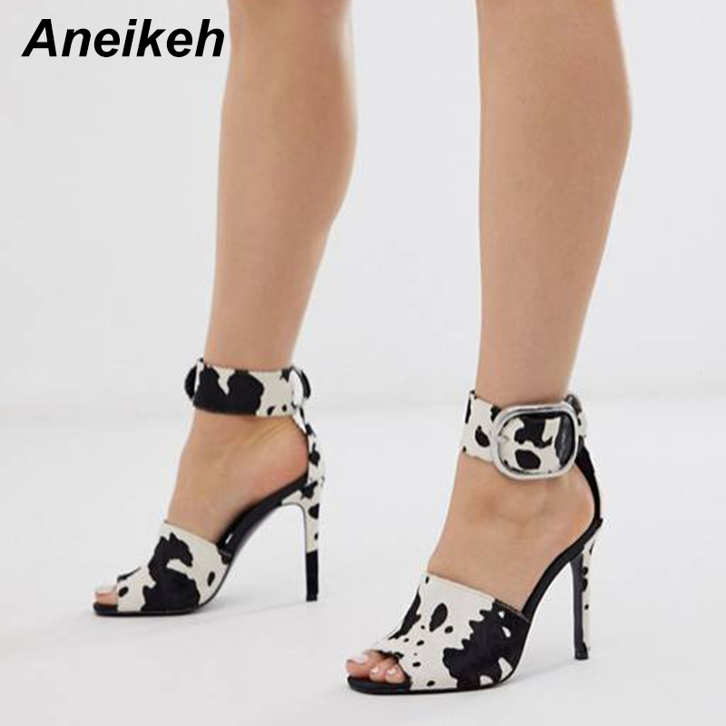 Aneikeh 2020 Fashion Ankle Buckle Sandals Women Shoes Peep Toe High Heels Sandals Summer Zebra Pattern Party Pumps Size 35-41