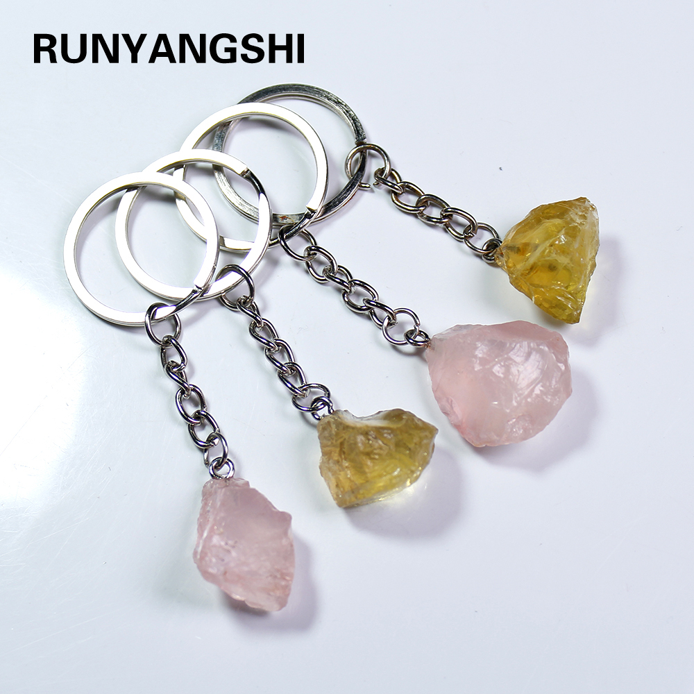 Runyangshi 1pc Natural crystal stone rose quartz Key buckle citrine raw Packet hanging Ornament Pendant