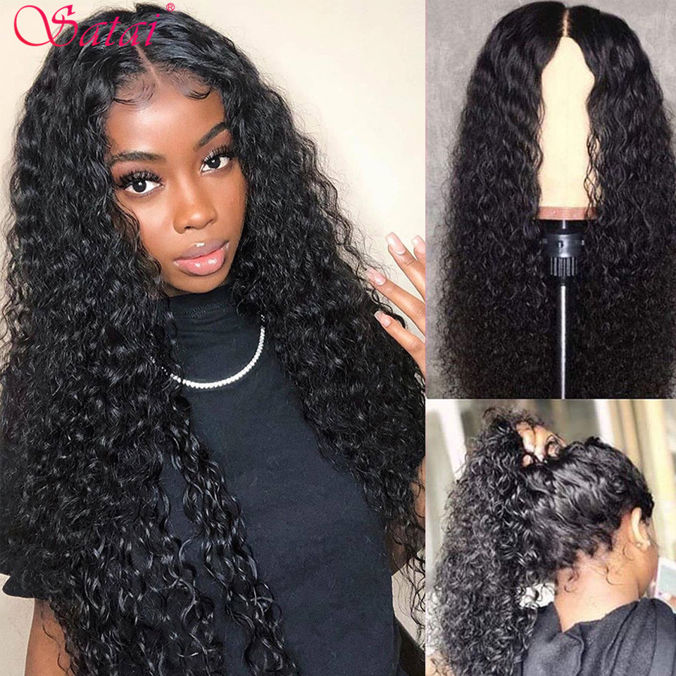 Satai Curly Human Hair Wig With Baby Hair Peruvian 13x6 Lace Front Wigs 150/180 Density Pre Plucked Kinky Curly For Black Women