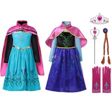 MUABABY Girl Elsa Coronation Dress up Clothes Girls Summer Flower Cotton Snow Queen Elza Anna Princess Party Cosplay Costume girl dress summer brand toddler girls clothes lace sequins princess anna elsa dress snow queen halloween party role play costume