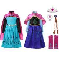 Muababy menina elsa coroação fantasiar-se roupas meninas verão flor algodão neve rainha elza anna princesa festa cosplay traje