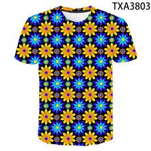 2020 nowy letni kwiat 3D T shirt mężczyźni kobiety dzieci moda codzienna Streetwear chłopiec dziewczyna dzieci drukowane koszulki fajne topy Tee tanie tanio SHORT CN (pochodzenie) Z okrągłym kołnierzykiem Conventional Sukno COTTON Z OCTANU Na co dzień Drukuj