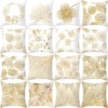 Pillowcases New Fashion Gold Plant Printed Pillow Case  Polyester Throw Cover 45*45 Taie doreiller