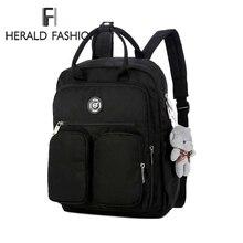 Herald Fashion Woman Bear Pendant Backpack Waterproof Multi-pocket Nylon Bag Soft Handle Solid Traveling School Bags For Girls