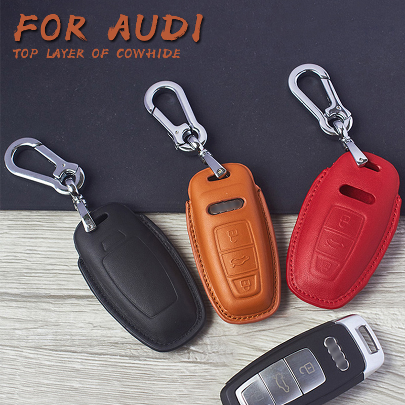High Quality Car 5D Genuine Leather Key Case Cover Holder Shell Bag Chain For AUDI A8 Q8 A6 A7 2019 Accessories image