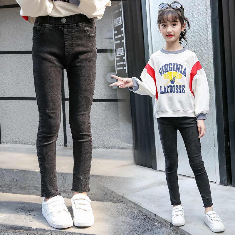 หนากางเกงยีนส์เด็ก 3-14 ปีหญิง 2019 ใหม่ Casual Slim Skinny ผู้หญิงกางเกงสีเด็กวัยหัดเดินวัยรุ่นกางเกงเด็ก