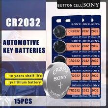 15 Teile/los SONY Original CR2032 Taste Zelle Batterie 3V Lithium-Batterien CR 2032 für Uhr Fernbedienung Spielzeug Computer Rechner control