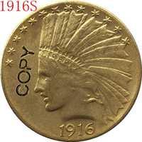 24-K chapado en oro 1916-S cabeza India $10 copia de monedas de oro