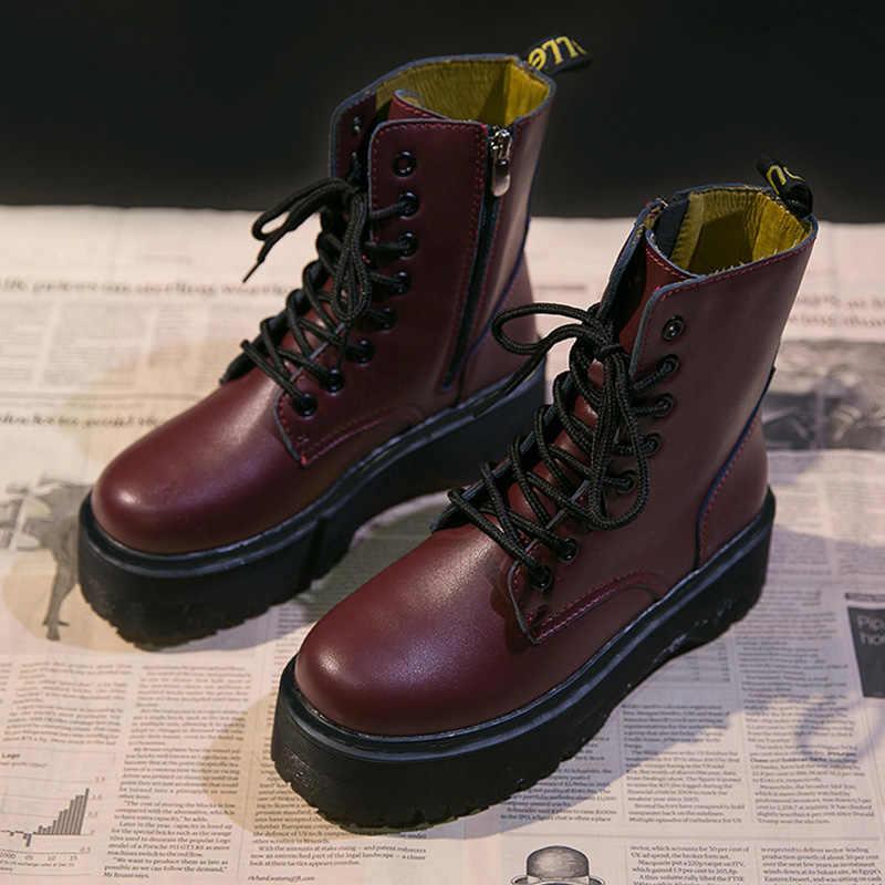 Plattform Stiefel Cowboy Frauen Schuhe Leder Stiefeletten Für Frauen Boot Winter Punk Dicken Boden Motorrad Stiefel aus echtem Mujer
