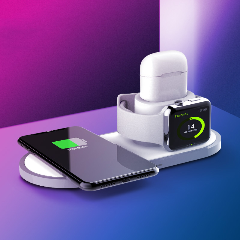 3 In 1 Qi Fast Wireless Charger Pad For IPhone 8 11 Pro X XS Max XR For Apple Watch 4 3 2 Airpods 10W Fast Charging For Samsung
