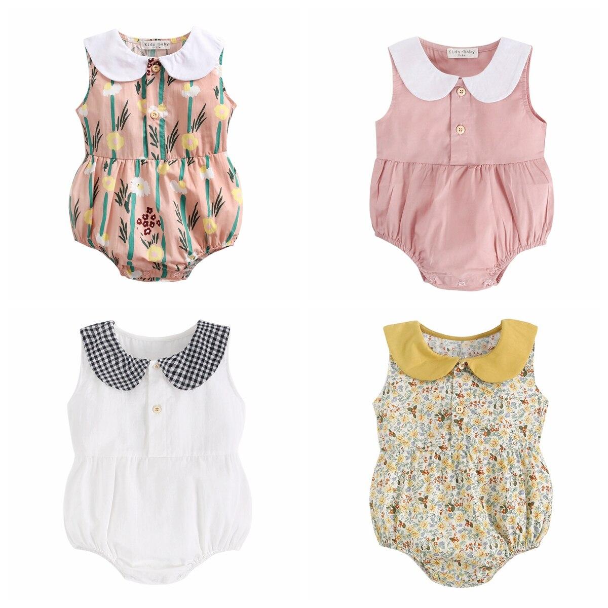 Sanlutoz Newborn Princess Baby Girls Bodysuits Cotton Baby Summer Clothing Cute Flowers Infant Clothes