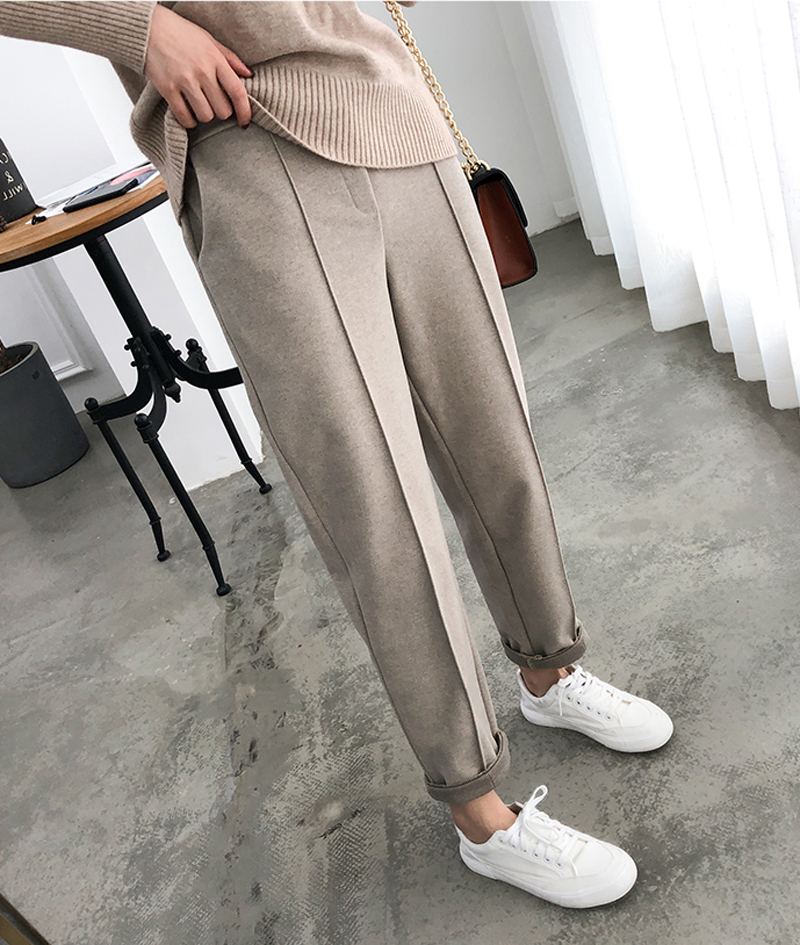 H09c0d083c629430099fe3f8a32fcc3f08 - Thicken Women Pencil Pants Autumn Winter Plus Size OL Style Wool Female Work Suit Pant Loose Female Trousers Capris 6648 50