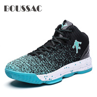 BOUSSAC New Brand Men Basketball Shoes Luxury Air Damping Sports Sneakers High Top Breathable Trainers Leather Outdoor Boots|Basketball Shoes| |  -