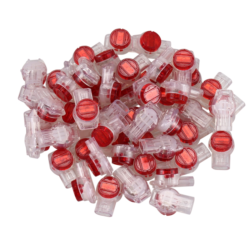 55 Pieces Gel Splice UR <font><b>Connector</b></font> 3 Port Wire Connectors Red+Clear Promotion image