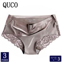 3pcs/lot QUCO Brand sexy Women Underwear High Quality Women Panties Seamless Underwear Solid Lingerie underwear women 1