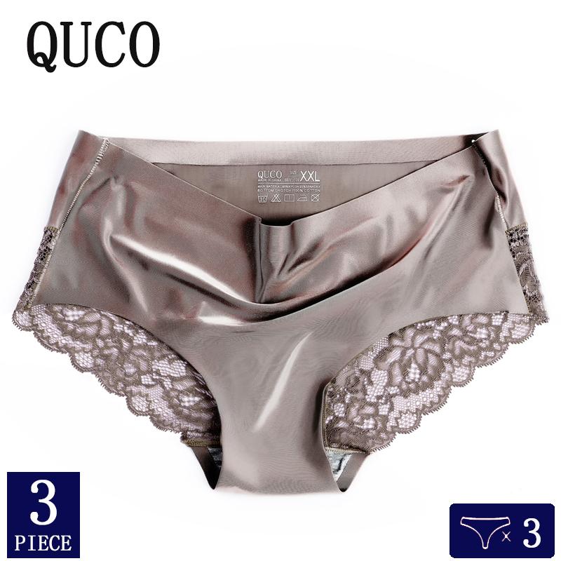 3pcs/lot QUCO Brand sexy Women Underwear High Quality Women Panties Seamless Calvin Underwear Solid  Lingerie underwear women