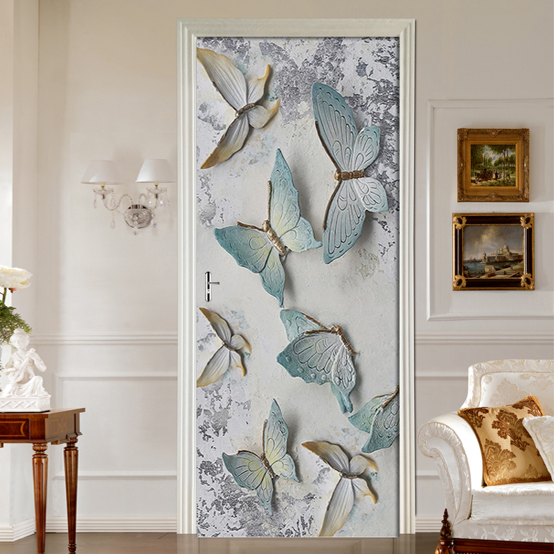 DIY Embossed Vintage Butterfly Door Sticker Mural PVC Self-adhesive 3D Wallpaper For Living Room Bedroom Door Decor Decal Poster