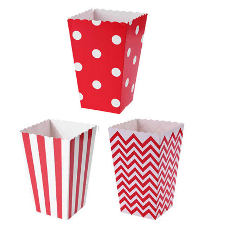 12pcs Pink Blue Stripe Wave Dot Paper Popcorn Boxes Bag Birthday Party decorations kids baby shower boy Girl party supplies Hot