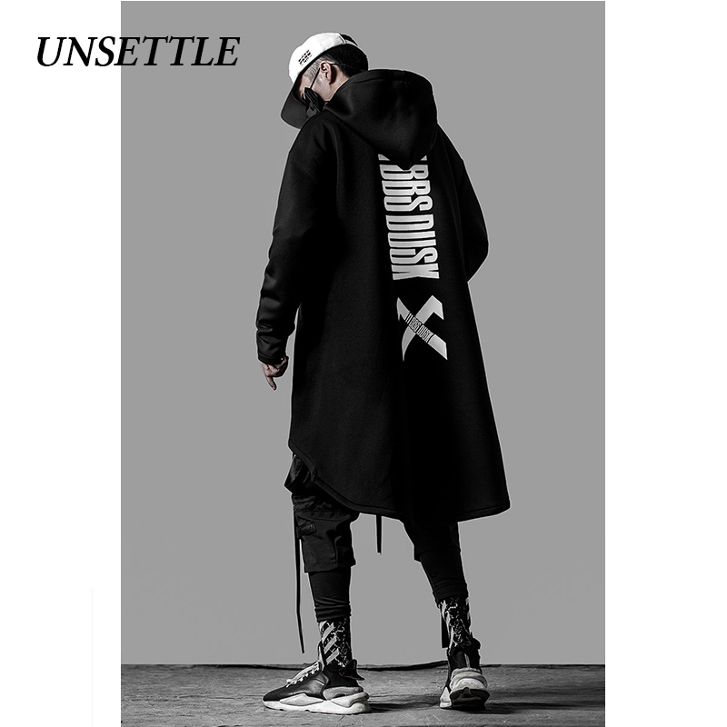 UNSETTLE japanese sweatshirt Mens Oversize Hoodies Long Cloak Hip Hop Gothic Outwear Streetwear Coat Harajuku Style Male Tops 5