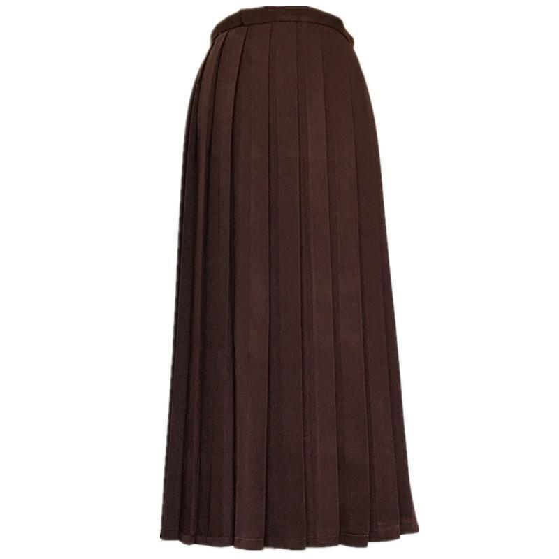 Японская школьная форма для девочек, регулируемая однотонная плиссированная юбка, 90 см, Jk, черный, темно-синий цвет, для старшеклассников, для студентов, в школьном стиле - Цвет: brown skirt 90cm