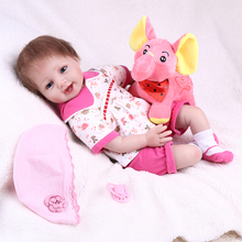 купить 55 cm Sweet smile Baby Doll Toy 3/4 silicone reborn Baby Simulation Doll Children bebe Birthday Gift Emulated reborn Dolls toy по цене 4214.64 рублей