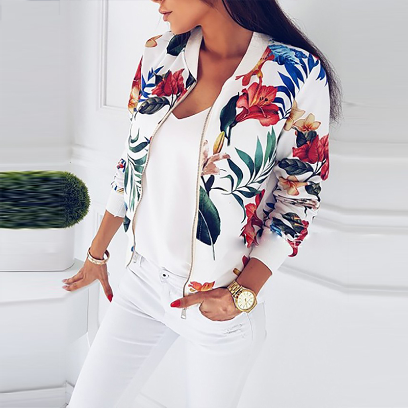 2020 Fashion Women Jacket Spring Ladies Retro Floral Zipper Up Bomber Jacket Casual Coat Autumn Spring Print Outwear Women
