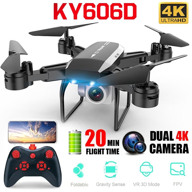 Novo profissional ky606d rc zangão dobrável 4k quadcopter longo tempo de vôo fpv helicóptero com 4k hd wifi câmera dron vs ky601s zangão Drones com câmera     -