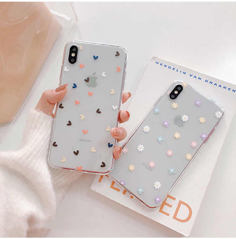 Soft Clear Phone Cases For Apple iphone 11 Pro X XS Max XR 6 6S 7 8 Plus Case Floral Love Heart Transparent Silicon Back Cover