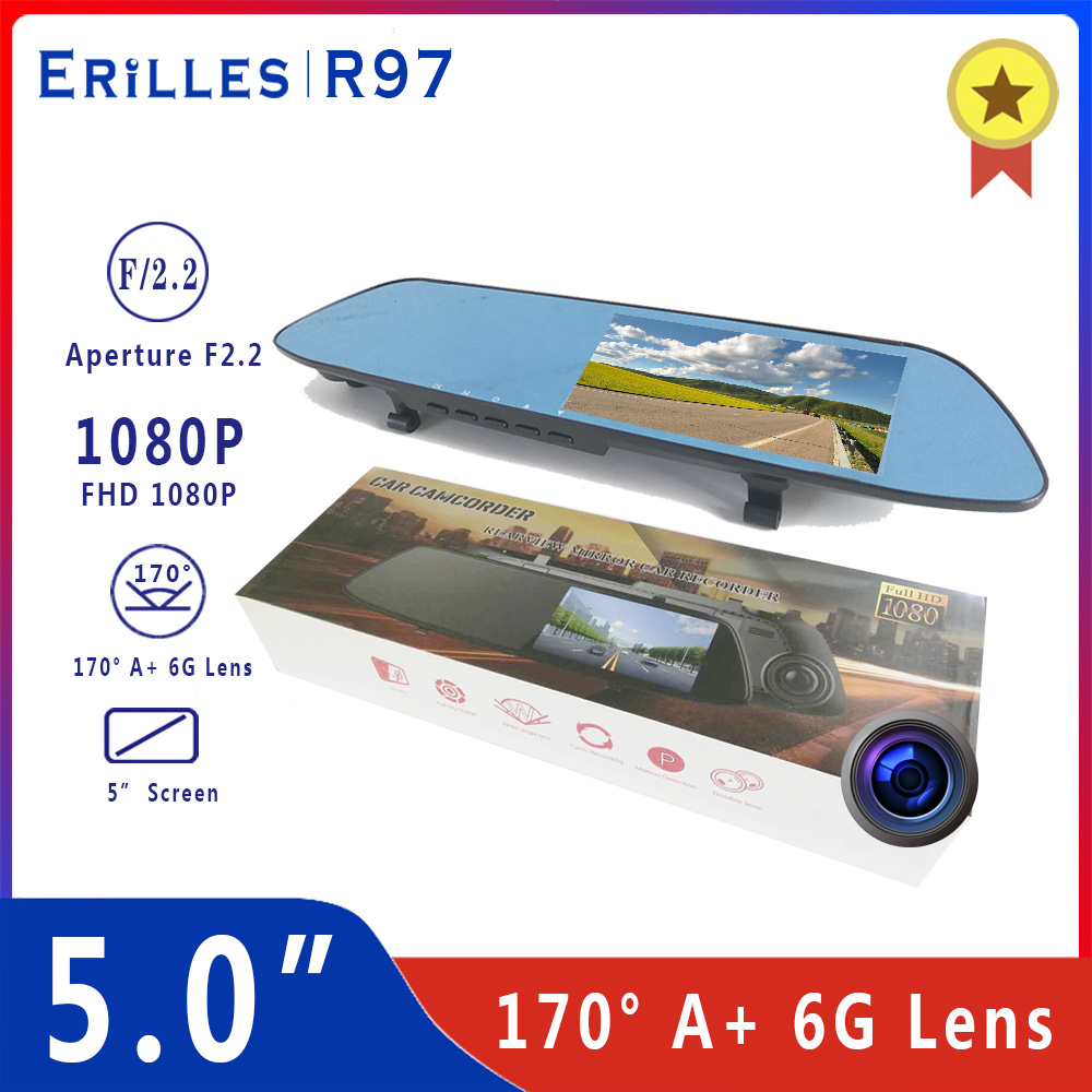 Volle HD 1080p 5 zoll rückspiegel Auto dvr auto fahren video recorder WDR auto kamera reverse bild dual objektiv dash cam