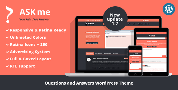 WordPress主题 Ask Me 高效问答主题 技术支持服务自适应中文版[更新至v4.5]