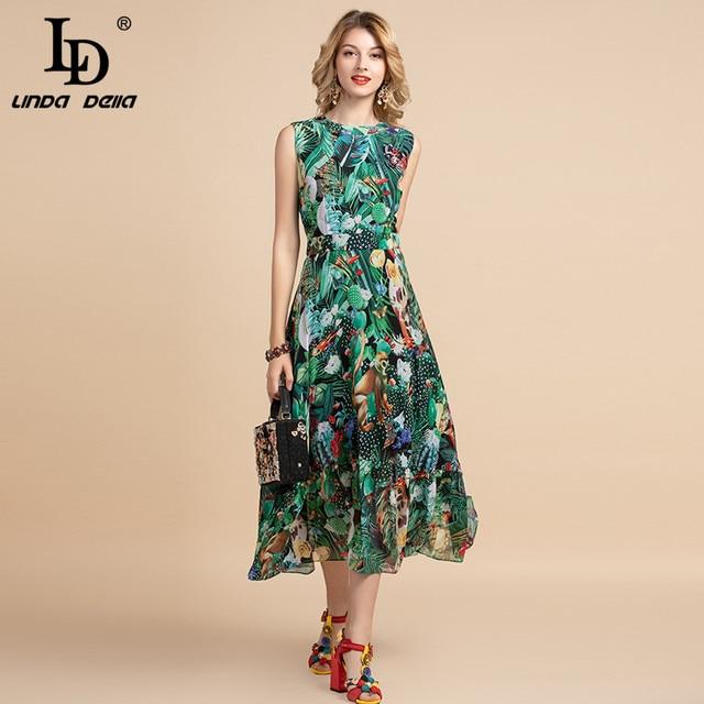 LD LINDA DELLA Elegant Summer Dress Women's Sleeveless High waist Vintage Animal Jungle Floral Print Elegant Midi Holiday Dress 1
